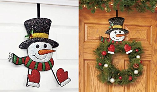 Snowman Wreath Hanger Decor Holiday Christmas Wall Hanging
