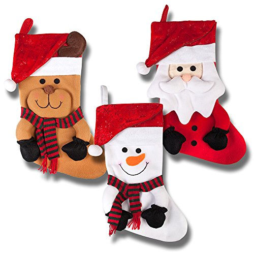 19 long 3d happy plush christmas stockings