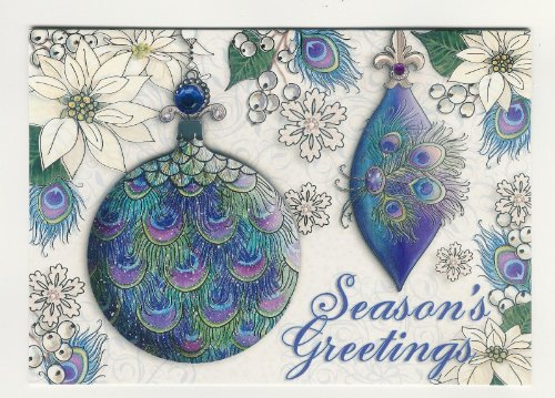 95599 punch studio boutique christmas greeting cards peacock 95599 punch studio boutique christmas greeting cards peacock feather ornaments m4hsunfo