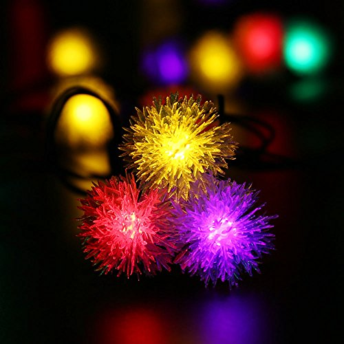 upgraded 50ledsluckled chuzzle ball solar string lights 23ft led christmas
